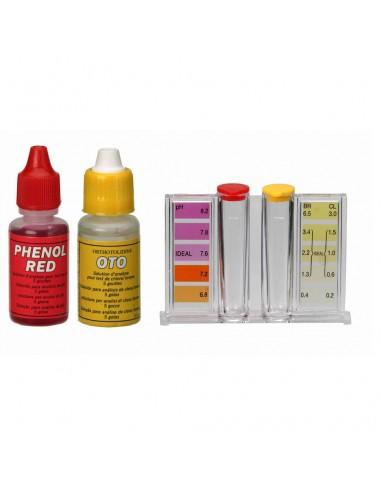 Kit analizador de cloro, bromo y pH